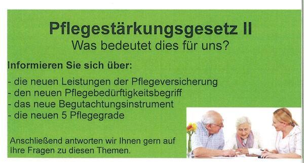 """Vortrag zum Thema """"Pflegestärkungsgesetzt II"""""""